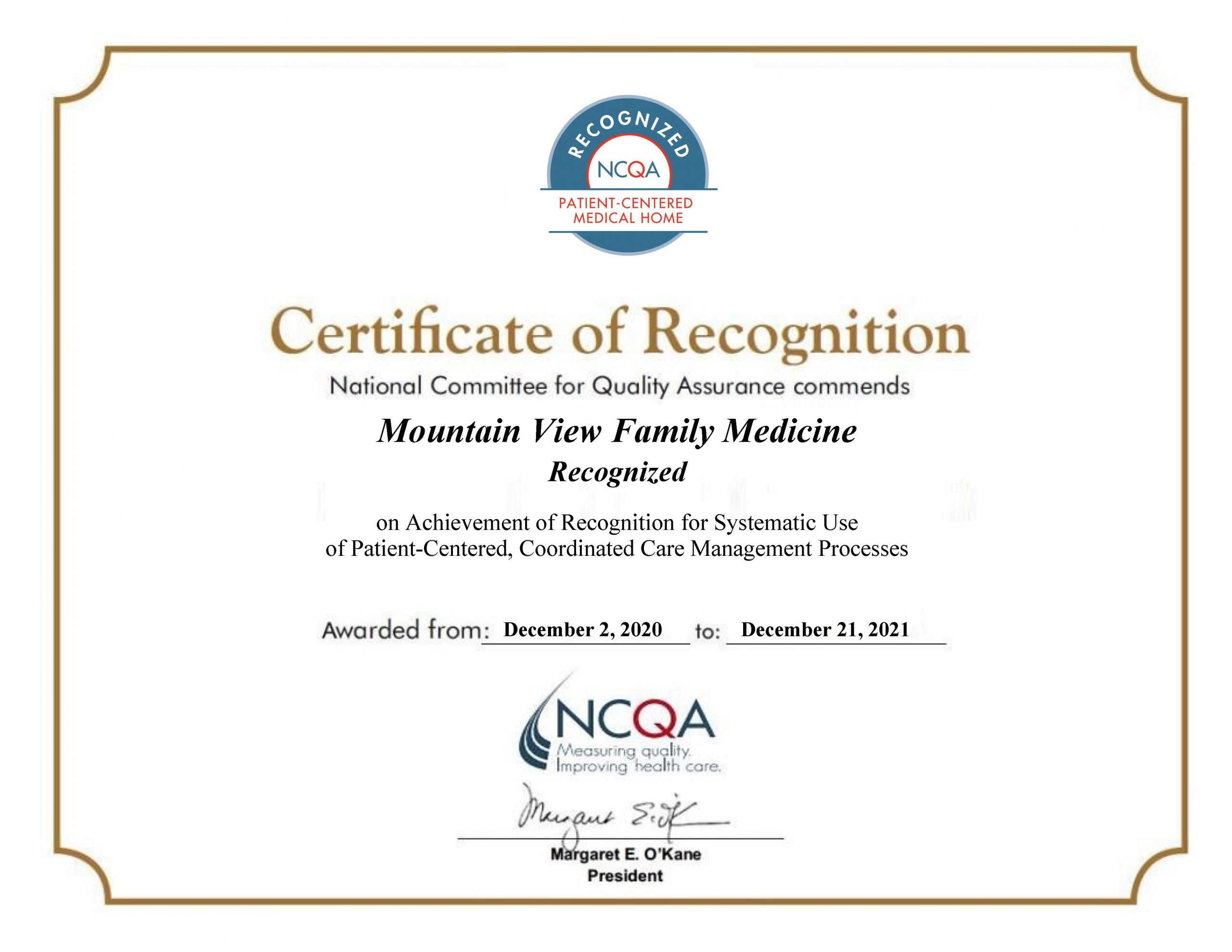 Mountain View Family Medicine Recognized as PCMH